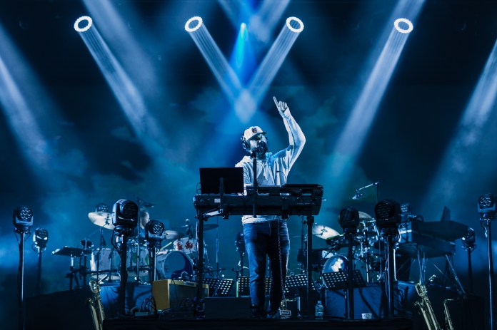 Vocalist Justin Vernon points up during his performance at the Boston Calling music festival on Saturday, May 27, 2017. (Photo courtesy 44 Communications)