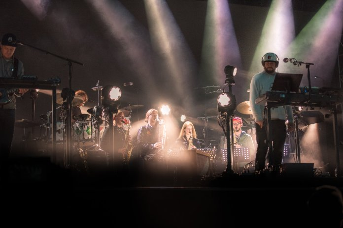 """Bon Iver performs from their latest album, """"22, A Million""""at the Boston Calling music festival on Saturday, May 27, 2017. (Photo courtesy 44 Communications)"""