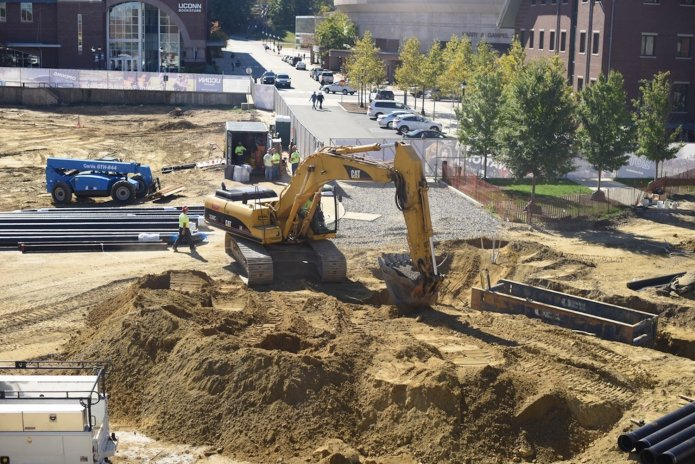 The construction site of the new recreation center. The construction on North Eagleville Road, which runs on the north end of campus, will remain closed until the end of December. (Zhelun Lang/The Daily Campus)