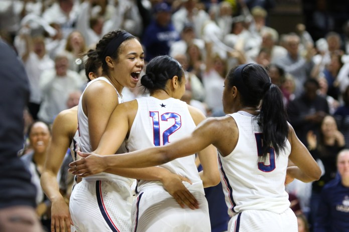 Napheesa Collier (left) and her teammates react to a second-half foul call in a game against South Carolina.(Jackson Haigis/The Daily Campus)