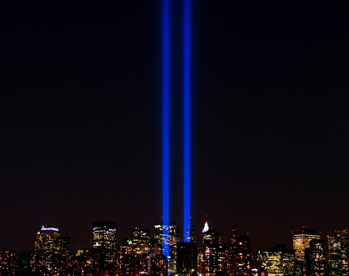 The World Trade Center lights in New York City in memory of the Twin Towers that were destroyed by al-Queda Sept. 11, 2001.(Scott Hudson/Flickr Creative Commons)
