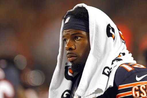 FILE - In this Aug. 11, 2016, file photo, Chicago Bears wide receiver Kevin White watches from the sideline during the second half of the team's NFL preseason football game against the Denver Broncos, in Chicago.White suffered a broken collarbone against the Atlanta Falcons and will go on injured reserve for the third straight season.(AP Photo/Tae-Gyun Kim, File)