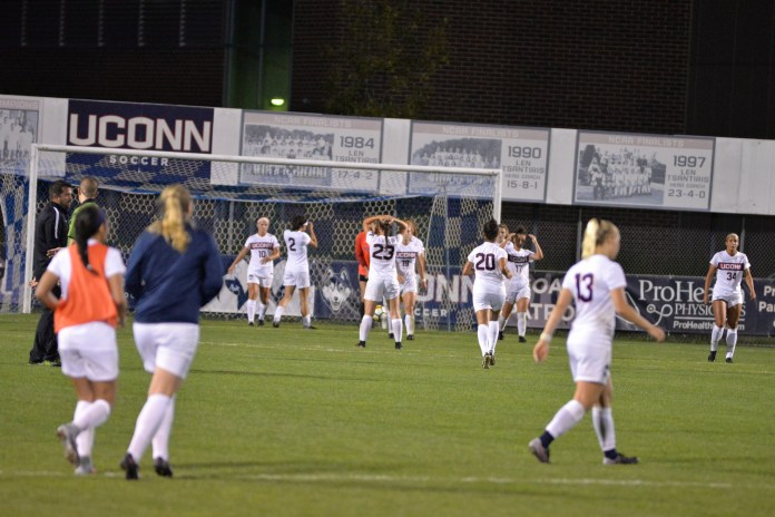 Maybe competing with Nickel Night is a fatal flaw in the current Thursday-Sunday configuration of the UConn women's soccer schedule. Either way, the women's soccer team fell to Long Beach State 3-2 in two overtimes Thursday night at Morrone Stadium but there wasn't anyone there to notice it. (Amar Batra/The Daily Campus)