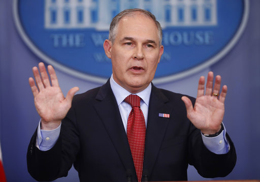 FILE - In this June 2, 2017, file photo,EPA Administrator Scott Pruitt speaks to the media during the daily briefing in the Brady Press Briefing Room of the White House in Washington.(AP Photo/Pablo Martinez Monsivais, File)
