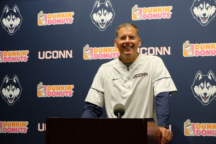 Randy Edsall addresses the media ahead of this Sunday's game. (Jon Sammis/The Daily Campus)