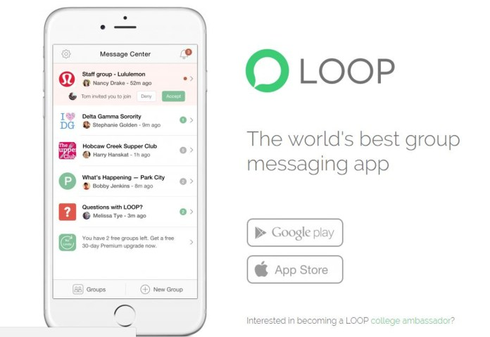 """LOOP prides itself on its """"powerful admin and personalization controls,"""" but it's the app's most confusing aspect. What's the point of having a group chat if not all members can post in it? (Screenshot/Loopmessenger.com)"""