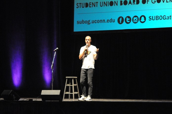 Jamie Tworkowski speaks at the Jorgensen Theater on September 27, 2017, addressing the problem of depression and suicide. The founder of of To Write Love On Her Arms talks about managing emotions and hanging on for another day. (Jon Sammis/The Daily Campus)