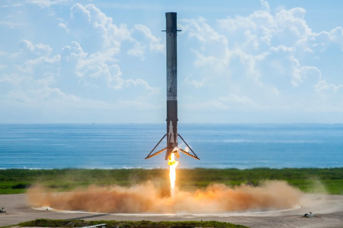 In this image provided by SpaceXa leftover booster rocket lands at Florida's Kennedy Space Center, Thursday, Sept. 7, 2017. (SpaceX/AP)