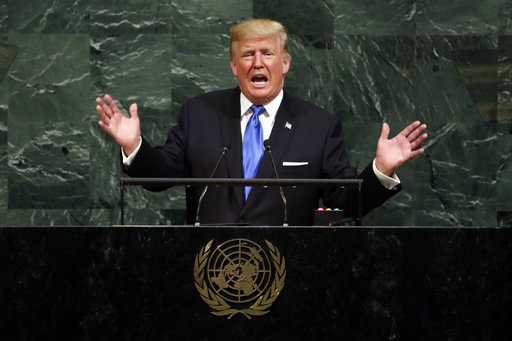 FILE - In this Sept.19, 2017, file photo, U.S.President Donald Trump addresses the 72nd session of the United Nations General Assembly, at U.N. headquarters. (AP/Richard Drew)