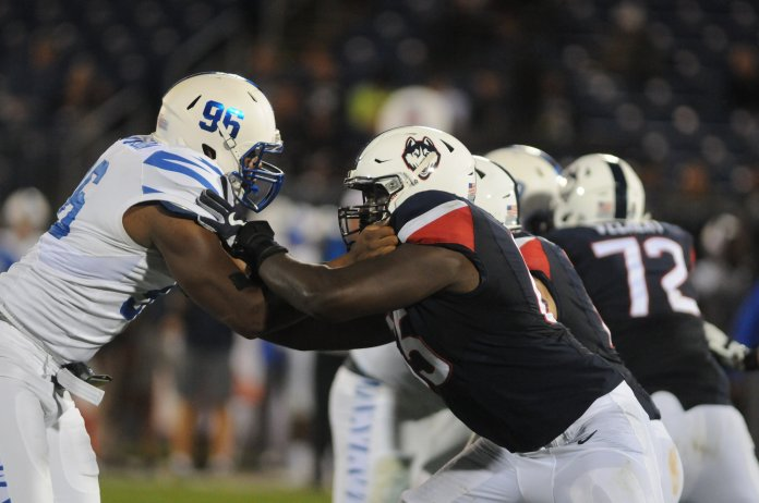 UConn took on Memphis on Friday, October 6 at Rentschler field. The Huskies fell to the Tigers with a final score of 70-31. (Oliva Stenger/The Daily Campus)