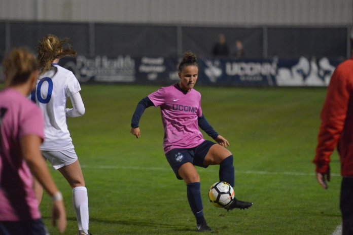 Victory against SMU put UConn officially past the halfway point of their conference schedule. Last season through five games the Huskies were 4-0-1, with the lone tie actually coming at SMU in a scoreless fashion. (Nick Hampton/The Daily Campus)