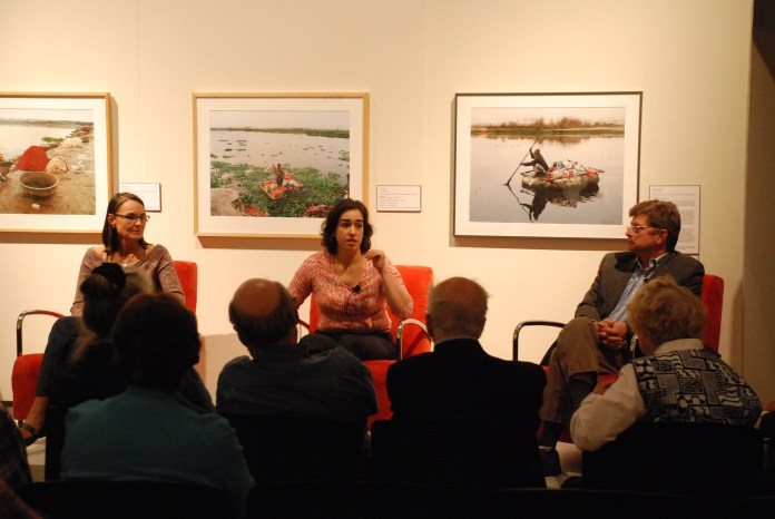 """On Friday Oct. 13, the Benton Museum holds a panel inspired by their current exhibition 'Unifiltered: an Exhibition about Water."""" Professors Penny Vlahos, Veronica Herrera and Chester Arnold discuss the political, economic and environmental importance of water. (Alex Taylor/The Daily Campus)"""