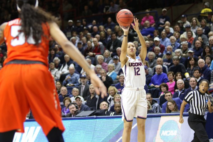 Saniya Chong goes up for a jump shot in a 94-64 win over the Syracuse Orange. (File photo/ The Daily Campus)