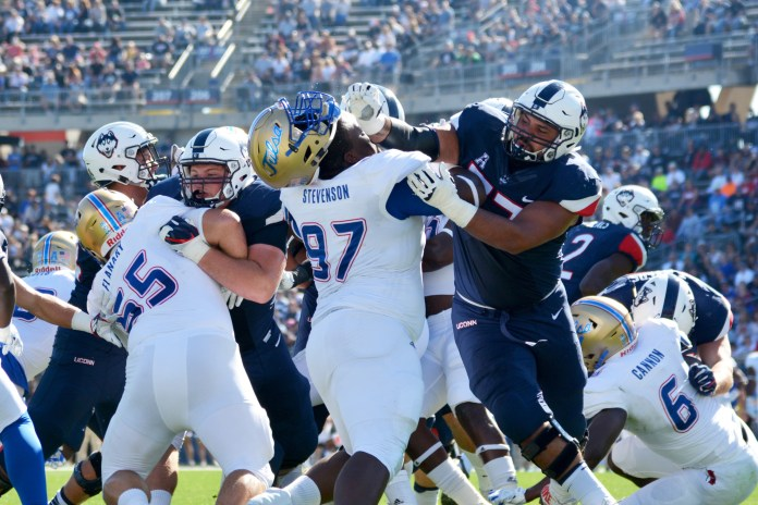 The Huskies defense was stifling against Tulsa when compared to its efforts against Memphis two weeks ago. (Charlotte Lao/The Daily Campus)