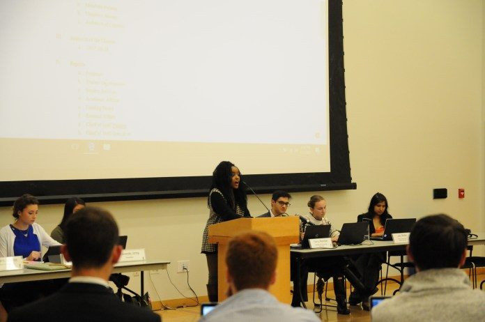 A Joint Resolution on Budget Cuts to Mental Health Services was passed at the University of Connecticut Undergraduate Student Government senate meeting, stating that USG does not support state budget cuts to mental health services. (Natalija Marosz/The Daily Campus)