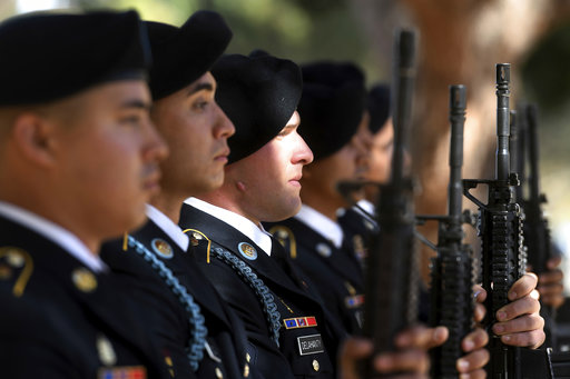 Members of the 11th Armored Cavalry Regiment from Fort Irwin prepare to offer a 21 gun salute to conclude a Veterans Dayceremony at Hesperia Lake Park in Hesperia, Calif., on Saturday, Nov. 11, 2017. (James Quigg/The Daily Press via AP)