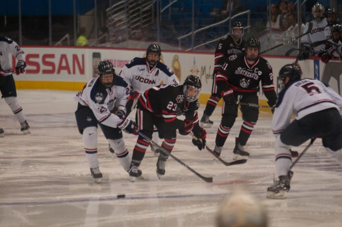 UConn men's ice hockey beat No. 12 Northeastern 4-1 Tuesday night after a previous record of 0-10 against them. (Eric Wang/The Daily Campus)
