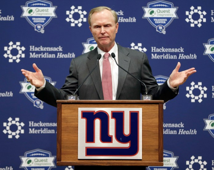 John Mara, owner of the New York Giants, speaks to reporters in East Rutherford, N.J., Monday, Dec. 4, 2017. The Giants made a rare in-season house cleaning, firing coach Ben McAdoo and general manager Jerry Reese on Monday, less than a year after the team made the playoffs for the first time since 2011. (Seth Wenig/AP)