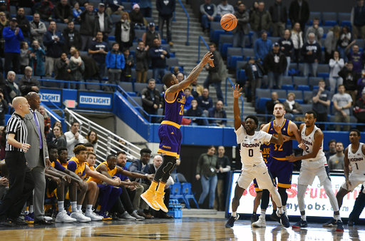 East Carolina's B.J.Tyson misses a 3-point basket to tie the score in the final seconds of UConn's 70-65 victory over the Pirates on Saturday, Jan. 6, 2018 at the XL Center in Hartford. (AP Photo/Jessica Hill)