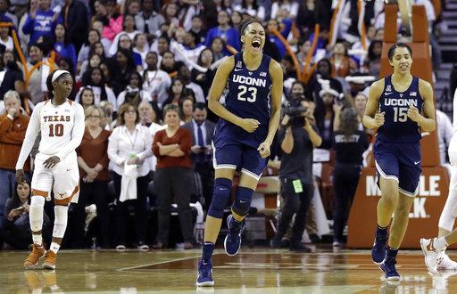 Connecticut forward Azura Stevens (23) celebrates the team's win over Texas in an NCAA college basketball game, Monday, Jan. 15, 2018, in Austin, Texas. (AP Photo/Eric Gay)