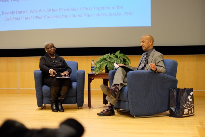 """Mobley's event, organized by Residential Life, delved into a social issue she refers to as """"the paradox of race talk in America.""""(Jon Sammis/The Daily Campus)"""
