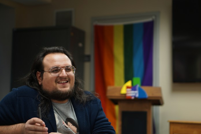 CLAS Senator Zachary Corolla talks with community members about how USG and UConn can help address concerns within UConn's LGBTQIA+ community on Tuesday, March 27, 2018. (Patrycja Jerzak/The Daily Campus)