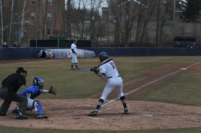 UConn and Hartford step back on the field for the double header on Friday Mar. 31. Pitcher Chase Gardner retired 14 batters in a row, leading to a Huskies victory, 1-0. (Jon Sammis/The Daily Campus)