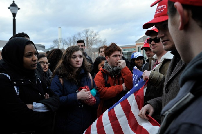 A protest sponsored by the Muslim Student Association against President Donald Trump on February 1, 2017. (Jason Jiang/The Daily Campus)