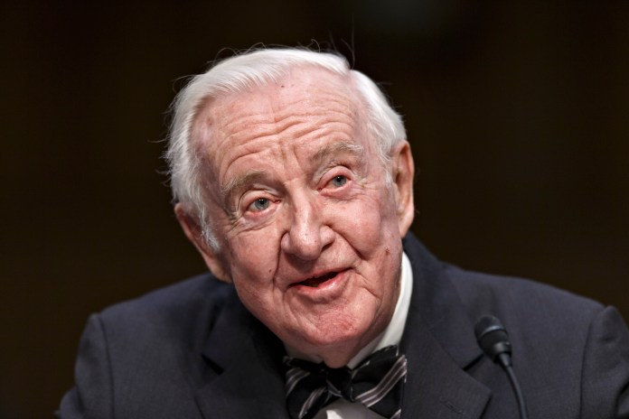 """retired Supreme Court Justice John Paul Stevens is calling for the repeal of the Second Amendment to allow for significant gun control legislation. The 97-year-old Stevens says in an essay on The New York Times website that repeal would weaken the National Rifle Association's ability to """"block constructive gun control legislation."""" (AP Photo)"""