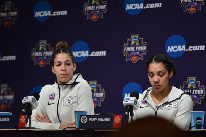 UConn seniors Kia Nurse (left) and Gabby Williams (right) answer questions from the media following a 91-89 overtime loss to Notre Dame in the Final Four at Nationwide Arena in Columbus, Ohio on March 30, 2018. (Photo by Olivia Stenger, Photo Editor/The Daily Campus)