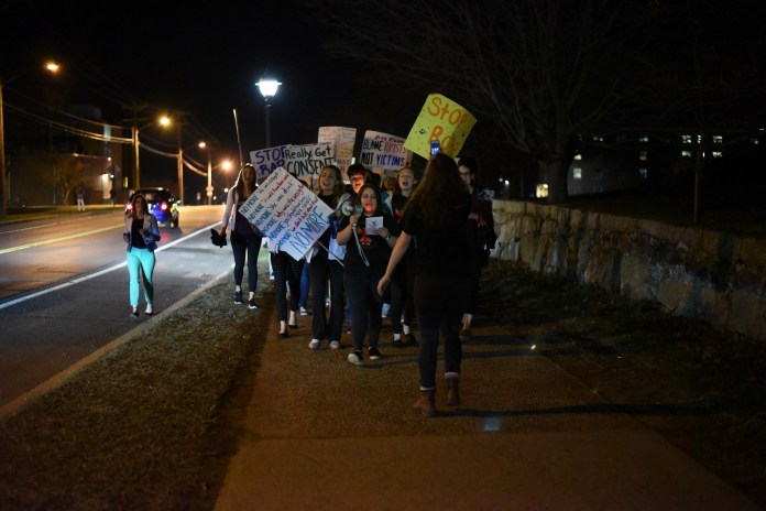 The Student Union Ballroom is full of people for Take Back the Night, an event about sexual harassment hosted by the Women's Center. A march followed the presentations. 4/12/2017 (Charlotte Lao/The Daily Campus)