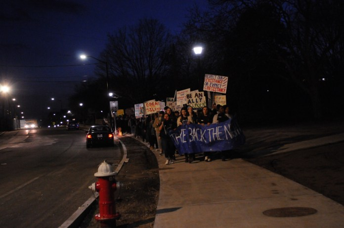 Students march around campus for a Take Back The Night event on April 11th, 2018. Take Back The Night is an international movement to raise awareness of and put an end to sexual assault, domestic violence, and all forms of sexual violence. (Judah Shingleton/The Daily Campus)