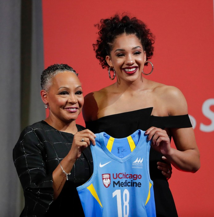 Connecticut's Gabby Williams, right, poses for a photo with WNBA president Lisa Borders after being selected as the No. 4 pick by the Chicago Sky in the WNBA basketball draft, Thursday, April 12, 2018, in New York. (AP Photo/Julie Jacobson)