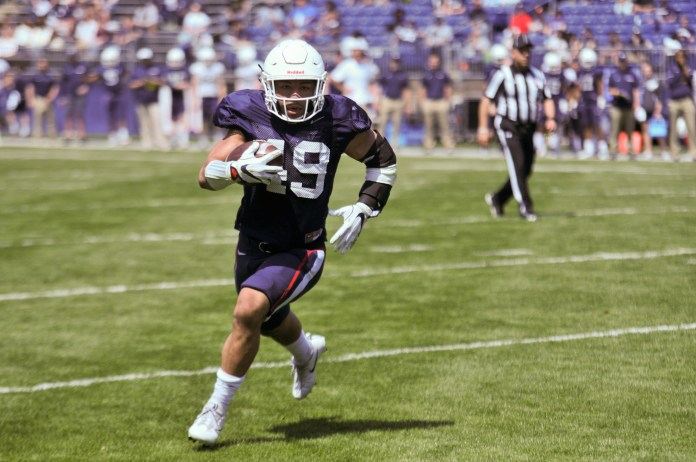 The UConn Football team kicks off the annual Spring game at Rentschler Field Saturday afternoon. In a game of Blue vs. White, 10 touchdowns were scored by the offense. The season begins Thursday, August 30, at Rentschler Field, with UConn playing against UCF (Nicholas Hampton/The Daily Campus)