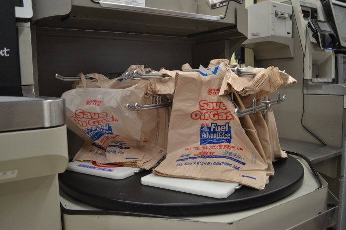 In-store plastic bags may become a thing of the past. (Olivia Stenger/The Daily Campus)
