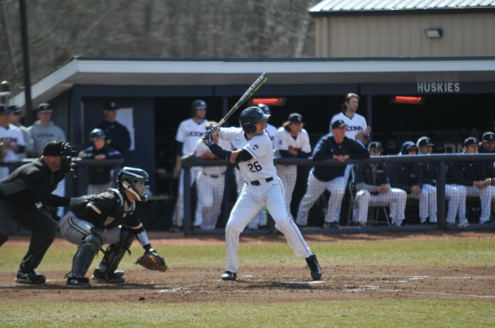 The UConn Huskies tied with Bryant University 9-9. The game ended short due to darkness. Huskies Baseball's next home game at J.O. Christian Field is on 4/25 against Rhode Island (Eric Wang/The Daily Campus)