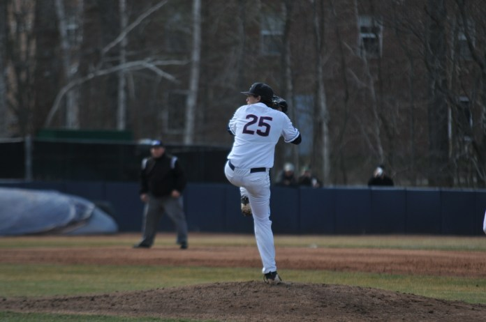 Joe Simeone delivers in a home game earlier in the year (Eric Wang/The Daily Campus)