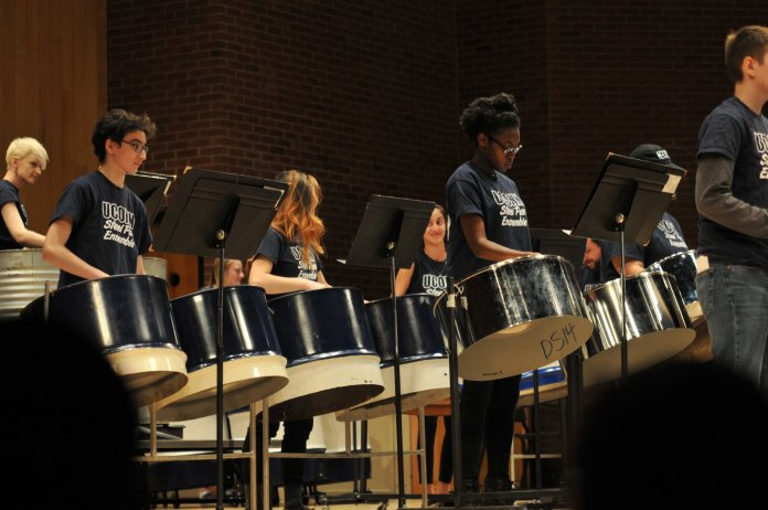 UConn's Steel Pan Ensemble performs energetic musical pieces at their spring concert in Von Der Mehden Auditorium on April 21st, 2018. (Judah Shingleton/The Daily Campus)