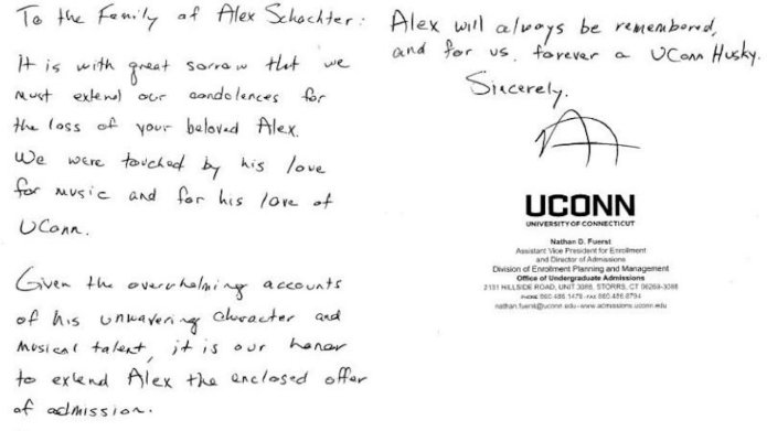 Admissions director Nathan Fuerst offered Alex Schachter posthumous admission to UConn after the teen was killed in a mass shooting at a Florida high school. (The University of Connecticut)