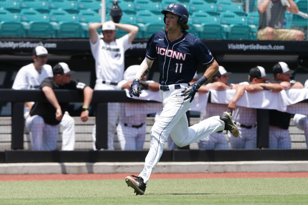 UConn staved off elimination by beating Coastal Carolina before subsequently being knocked out by the Washington Huskies in their second do-or-die game of the day (UConn Athletics)