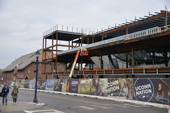 There are many small construction projects occuring through campus, but most of it is going towards new Student Recreation Center.(Amar Batra/The Daily Campus)