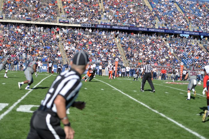 File- UConn football fans have struggled to pack Rentschler Field in the past.Will an improved an game day experience make a difference in 2018? (File photo/The Daily Campus)