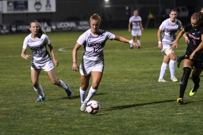 UConn Women's Soccer lost 3-0 against Rutgers at Morrone Stadium Thursday night. UConn defense stopped Rutgers from scoring in the second half. (Nicholas Hampton/The Daily Campus)