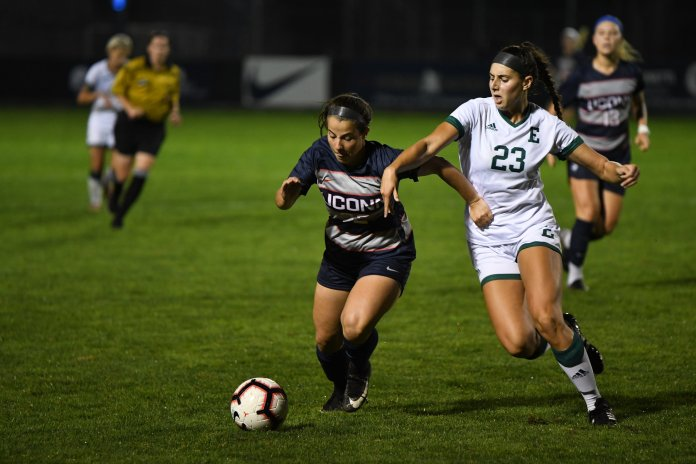 UConn Women's Soccer plays East Michigan Friday night at Marrone Stadium. Sophomore Yamilee Eveillard led the team with six shots on the goal but the game ended in a 0-1 loss. (Photo by Nicholas Hampton/The Daily Campus)