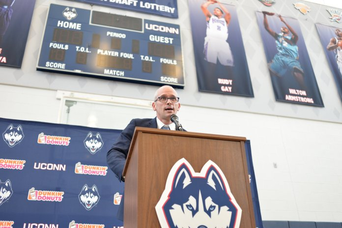 Danny Hurley addresses the Connecticut media in his introductory press conference. (File photo/The Daily Campus)