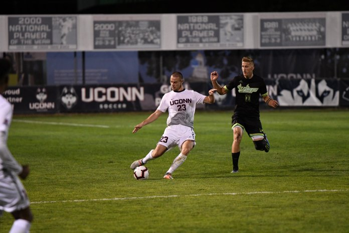 UConn Men's Soccer ties 2-2 in double overtime against USF Saturday night at Morrone Stadium. Dayonn Harris and Abdou Mbacke Thiam scored the two goals for UConn. Photo by Nicholas Hampton/Associate Photo Editor