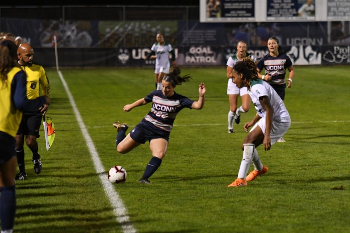 UConn Women's Soccer lost against USF Thursday night in Morrone. The game ended in a score of 0-4. The next home game will be noon on Sunday at Morrone Stadium. (Photo by Nicholas Hampton/The Daily Campus)
