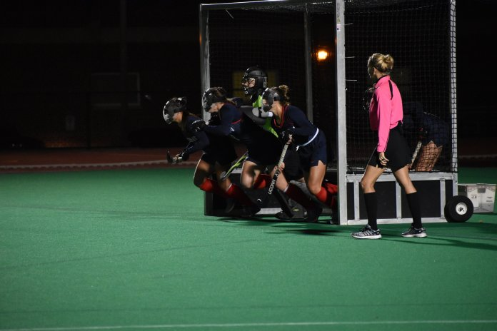 The Huskies defend their net during a Temple corner attempt on Sept. 28, 2018. (Kevin Lindstrom, Grab Photographer/The Daily Campus)