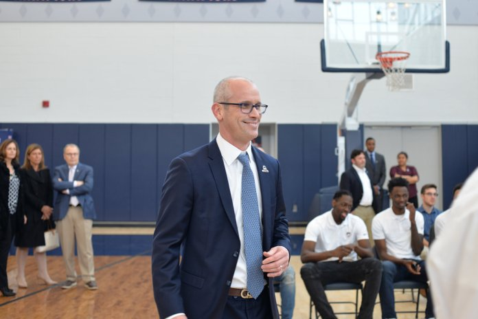 Dan Hurley is officially inducted as the UConn men's basketball head coach in the Werth Family UConn Basketball Champions Center on Friday, March 23. The men's basketball team had their first official practice of the season with Hurley on Saturday, Sept. 29. (File Photo/The Daily Campus)