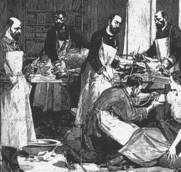 In 1800s France, an infected woman is given a transfusion of goat's blood—a desperate, futile measure to ward off the disease.  (The Science of Vampirism)